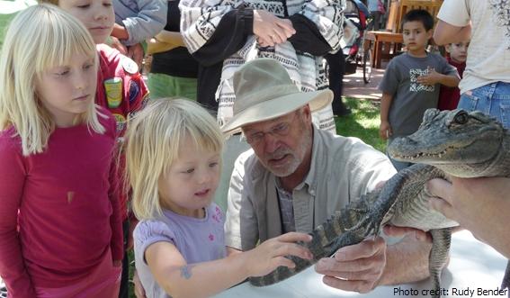 Girl admiring Alligator